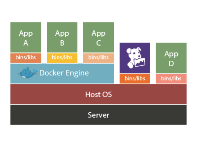Where the agent fits in a Docker environment